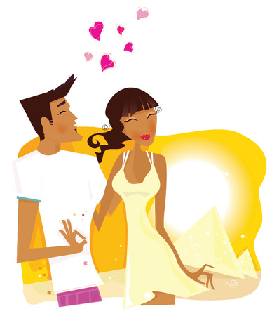 Summer Honeymoon in Egypt. Romantic desert travel. Young loving couple on honeymoon in Egypt. Vector Illustration. Vector