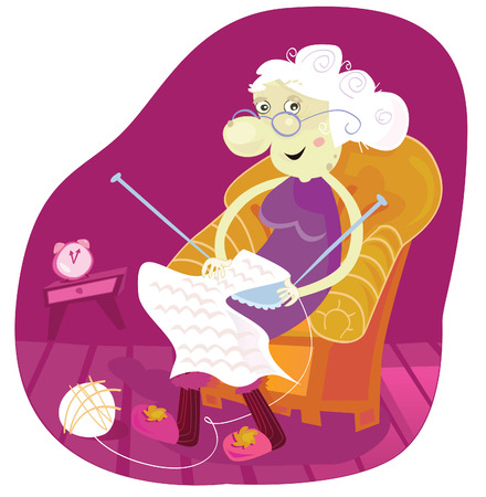 human age: Grandmother. Gradmother sitting in armchair and knitting. Vector Illustration.