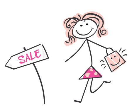 mall signs: Doodle sale girl. Loving sale! Doodle vector character. Illustration