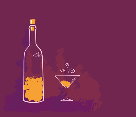 ワイン。芸術的なベクトル イラストのワインのボトル。