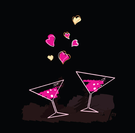 Wine evening. Romantic evening. Art Illustration of Wine glasses with hearts. Vector