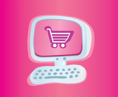 order online: Shopping online VECTOR ICON. Stylish computer with shopping cart. Vector Illustration. Illustration
