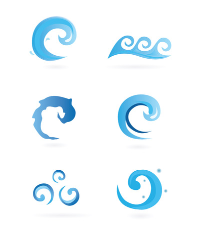cleanse: Water Icons – Wawes. Different design elements – can be use for logos or prints. Easy to resize – vector Illustration.