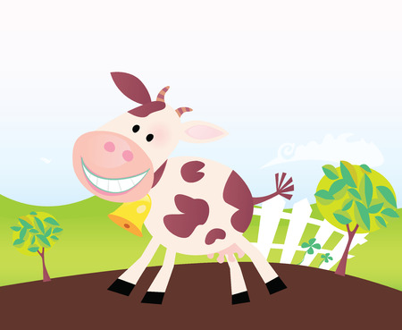 Cow on farm. Vector cartoon. Farm scene with funny cow. Cartoon vector Illustration. Easy to resize. Vector