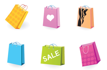 Designer Shopping bags icons. Vector pack of shopping bag set for eshop or magazines. Vector
