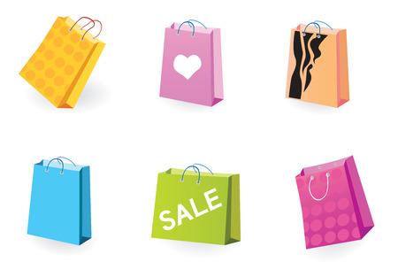 designer bag: Designer Shopping bags icons. Vector pack of shopping bag set for eshop or magazines.