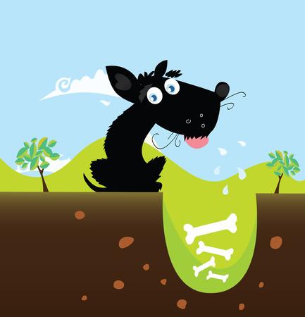 perro caricatura: Perro negro con los huesos. VECTOR. Lindo perro negro en la naturaleza, con los huesos en el agujero. Ilustración vectorial.