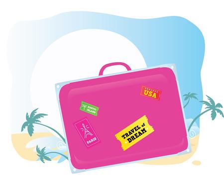 packing suitcase: Bagagli. Andando a vacanze esotiche! Vector valigia si dovrebbe facile cambiare colore e dimensione. Vettoriali