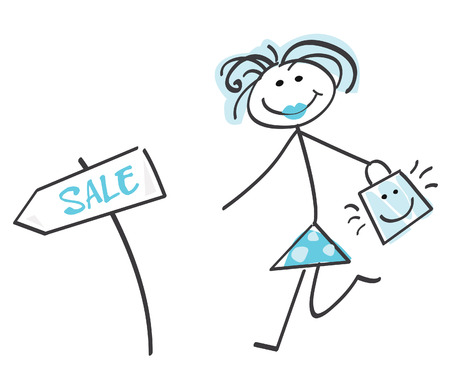 Doodle sale girl – blue. Loving sale! Doodle vector character. Vector