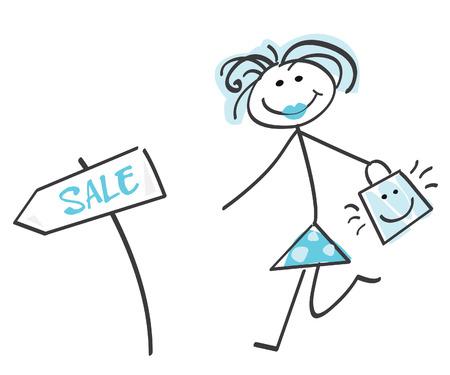 Doodle sale girl – blue. Loving sale! Doodle vector character. Stock Vector - 5242140