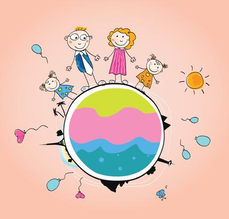 madre tierra: Familia feliz en la Tierra VECTOR. Somos Familia. Ilustraci�n del vector de arte de la madre, padre e hijos en Globo.