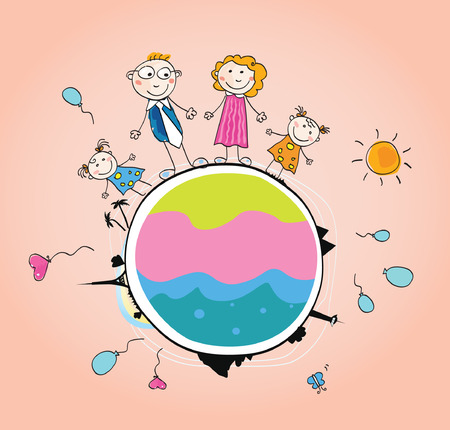 childrens: Happy family on Earth – VECTOR. We are Family. Art vector Illustration of mother, father and childrens on Globe.