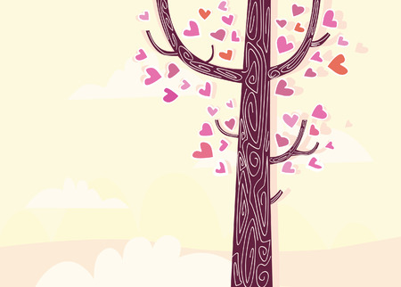 ecard: Tree of hearts. Some of trees arent common trees. Some of them are speaking stories, like THIS one. Art vector Illustration.