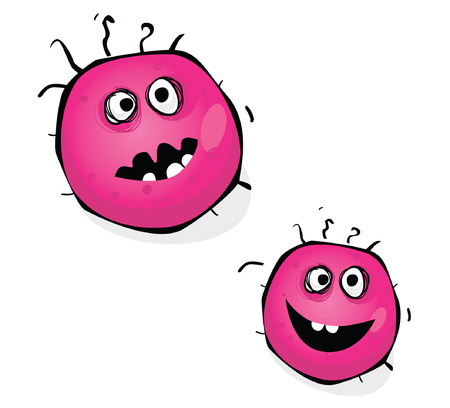 bacteria cartoon: Swine flu bacteria. Warning! Pink bacteria of swine flu, H1N1. Art vector Illustration.