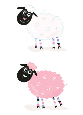 Cartoon sheep. Vector Illustration of funny sheep. In 2 color variants. Vector