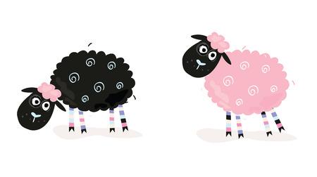 oveja negra: Caricatura ovejas. Negro y rosa ovejas. Ilustraciones Vectoriales de ovejas gracioso. En 2 variantes de color.