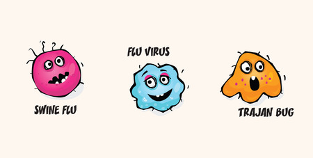 bacteria cartoon: Viruses set. Germs of Swine Flu, Computer Virus and Flu virus. Vector Illustration.