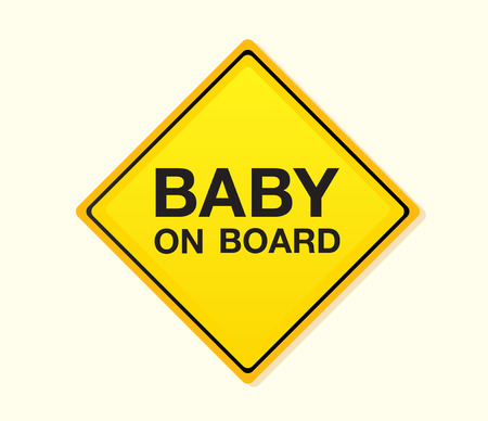 ON BOARD. on board! Yellow warning sign. Vector Illustration – easy to resize and change colors. Vector