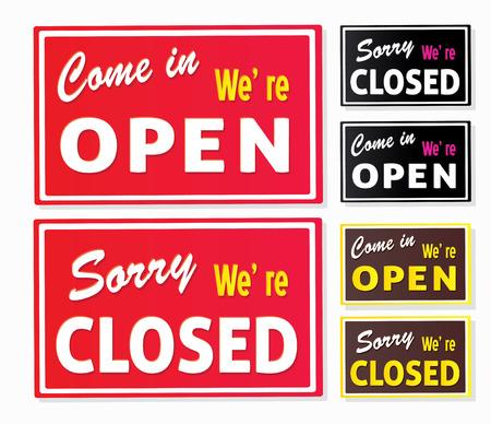 Offene und geschlossene Zeichen speichern. Come in, oder wir sind tats�chlich geschlossen! Vector speichern Zeichen. Illustration