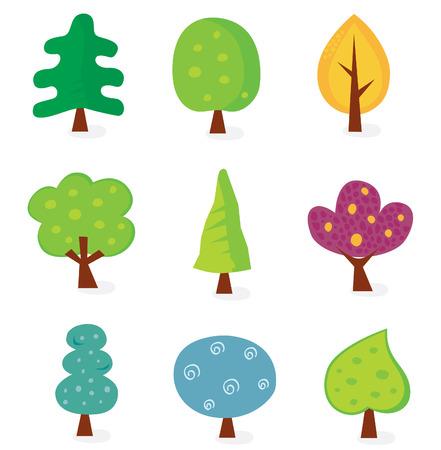 Baum-Retro-Designs. Retro-Vektor-Illustration von neun Bäume.