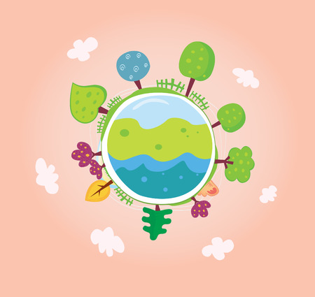 global village: Green planet. We are going to rescue our planet! More trees everywhere. Green globe, VECTOR.