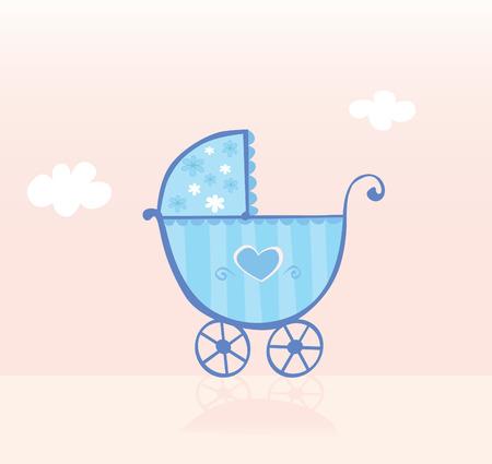ecard: Blue carrozzina o passeggino per baby boy. Baby Boy � venuta! Illustrazione Vettoriale.