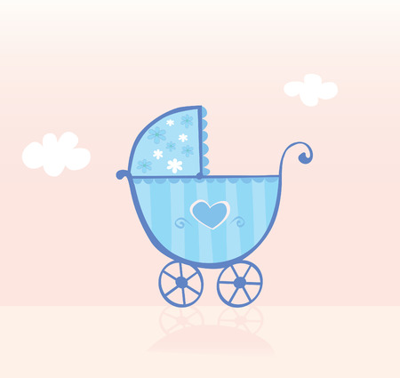 ecard: Blue pram or stroller for boy. boy is coming! Vector Illustration.