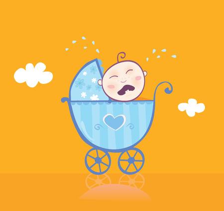ecard: Bambino che grida nel carrozzina. Questo dolce baby boy visto insoddisfatta. Non � la sua nuova carrozzina blu abbastanza belle? Illustrazione Vettoriale. Vettoriali