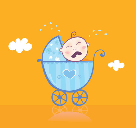 ecard: Small boy crying in pram. This sweet boy seen unsatisfied. Isnt his new blue pram enough pretty? Vector Illustration. Illustration