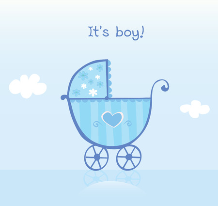 ecard: Blue pram for boy. Its boy! Vector cartoon Illustration of pram. Illustration