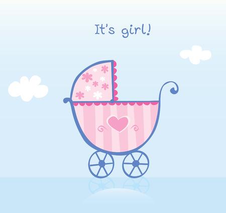 Pink pram for girl. It's girl! Vector cartoon Illustration of pram.