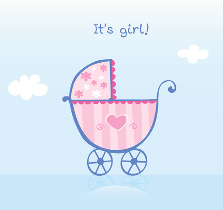 ecard: Pink pram for girl. Its girl! Vector cartoon Illustration of pram. Illustration