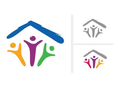 Bajo un mismo techo. Pictograma Resumen de la familia bajo un mismo techo. En 2 variantes de color diferentes (incluyendo inversa). VECTOR.