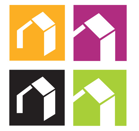 square logo: House icons. Vector icons of stylised houses. Vector Illustration.