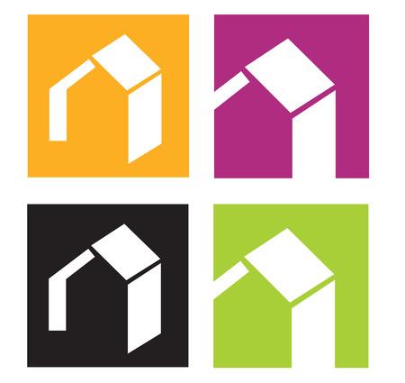 colourful houses: Los iconos de la C�mara. Iconos vectoriales de casas estilizada. Ilustraciones Vectoriales.