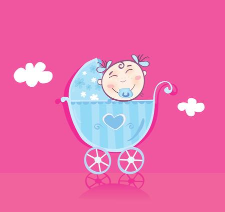 Bebé feliz en el cochecito. Es niña! Vector cartoon Ilustración.