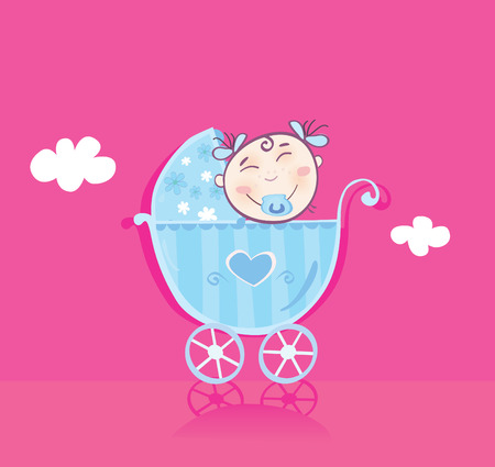 Happy baby in pram. It's girl! Vector cartoon Illustration. Stock Vector - 5335050