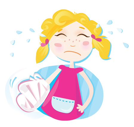 obvaz: Small girl with broken hand. Girl with bandage. Vector Illustration.