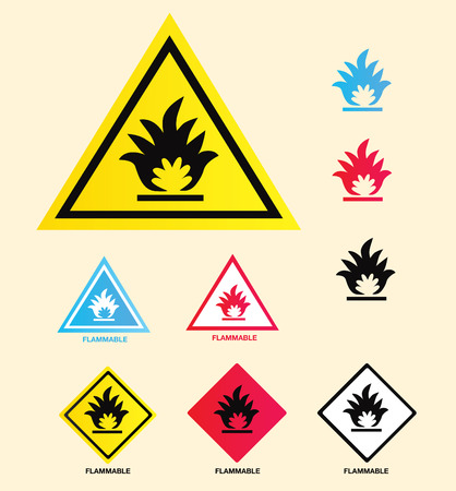Flammable warning sign. Vector collection of warning signs – easy to resize and change colors. Stock Vector - 5335047