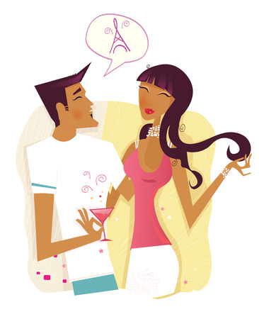 Communication. Flirting up! Young couple in hot communication. Old – styled vector Illustration. Stock Vector - 5335053