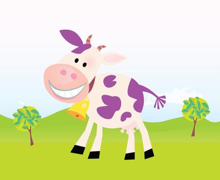 milk cow: Escena de la granja con vacas. Granja divertida escena con la vaca violeta. Ilustraci�n de dibujos vectoriales. F�cil de cambiar el tama�o.