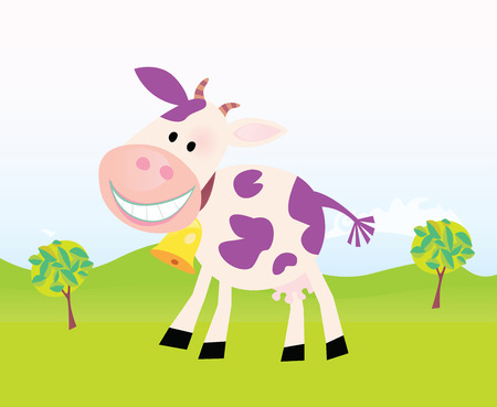 beauty product: Farm scene with cow. Farm scene with funny violet cow. Cartoon vector Illustration. Easy to resize.