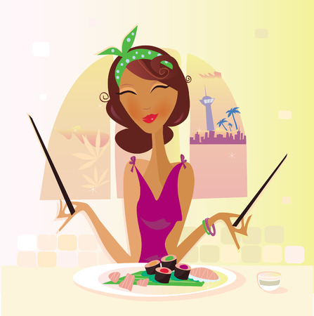 kitchen studio: Exotic food � Sushi. Girl with sushi in attractive japanese restaurant. Vector Illustration.