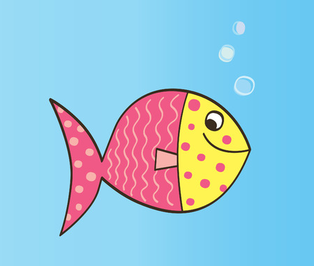 Cartoon Fish. Cute colorful fish. Vector Illustration. Çizim
