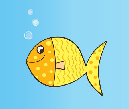 Gold cartoon fish. Gold yellow cartoon fish. Vector Illustration. Stock Vector - 5418001