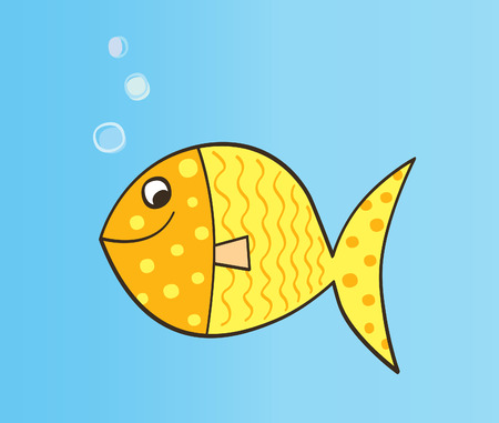 Gold cartoon fish. Gold yellow cartoon fish. Vector Illustration. Vector