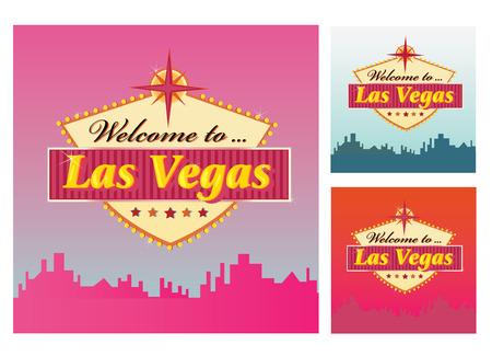 welcome sign: Bienvenue � Las Vegas. Las Vegas Welcome Sign en 3 variantes de couleur. Vector illustration.