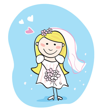 Bride in white. This beautiful bride in white dress is still waiting for the right one. Bride – doodle character. Art vector Illustration. Vector