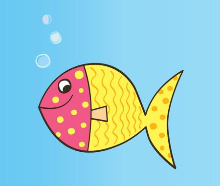 Vector cartoon fish. Colorful cartoon fish. Vector Illustration. Vector