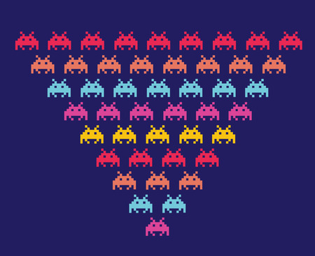 pixels: Space Invaders. Illustration of space aliens. Vector format.